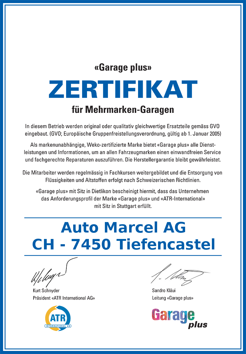 Zertifikat Garage Plus