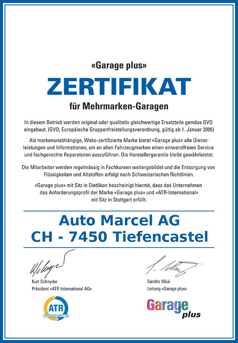 Zertifikat Garage Plus
